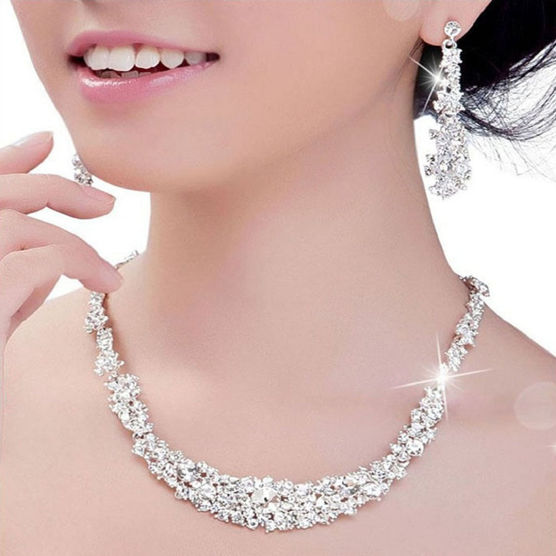Willtoo(TM) Women Summer Crystal Jewelry Wedding Bridal Necklace+earrings Sets