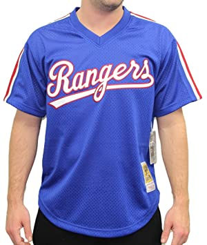 timeless design c3a9c 4ddea Authentic Rangers Jersey amp; Mesh Practice Blue Batting ...