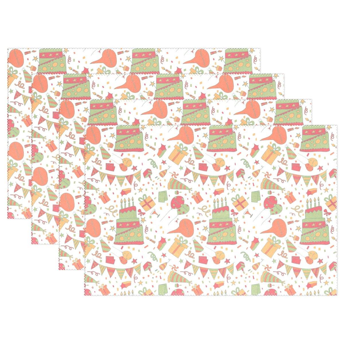 セットの4冬雪背景ポリエステルプレースマット – 12 x 18 in – 洗濯可能熱と折り目Resistant Printed Place Mat forキッチンディナーテーブル Set of 4 Placemats-1121-FOUR18 Set of 4 Pattern 18 B077N5B5PM