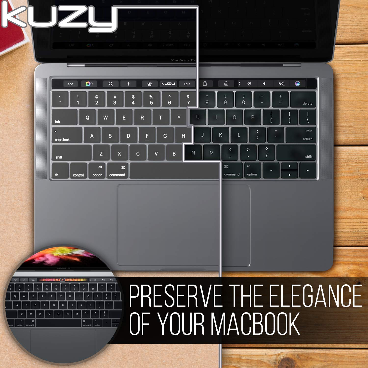 Silicone Skin Protector MacBook Pro Keyboard Cover with Touch Bar for 13 and 15 inch New 2019 2018 2017 2016 Kuzy Apple Model A1989, A1990, A1706, A1707 Oxy Black
