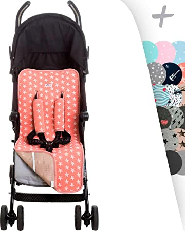 Janabebé Universal Luxury Foam Cover Liner for Stroller (Pink Star)