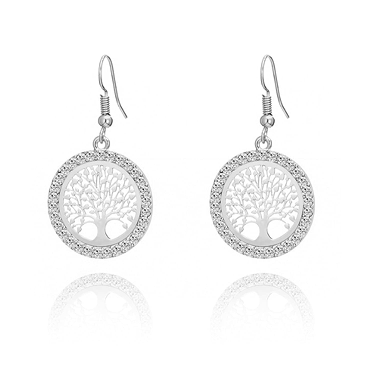 primerry Exquisite Creative Personality Tree of Life Fashion Rhinestone Alloy Ear Hook Earrings