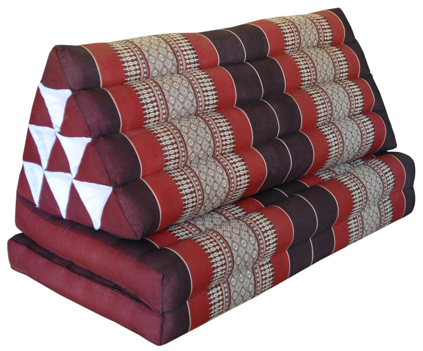 Thai triangle cushion XXL, with 2 folding seats, burgundy/red, sofa, relaxation, beach, pool, meditation, yoga, made in Thailand. (82317) by Wilai GmbH