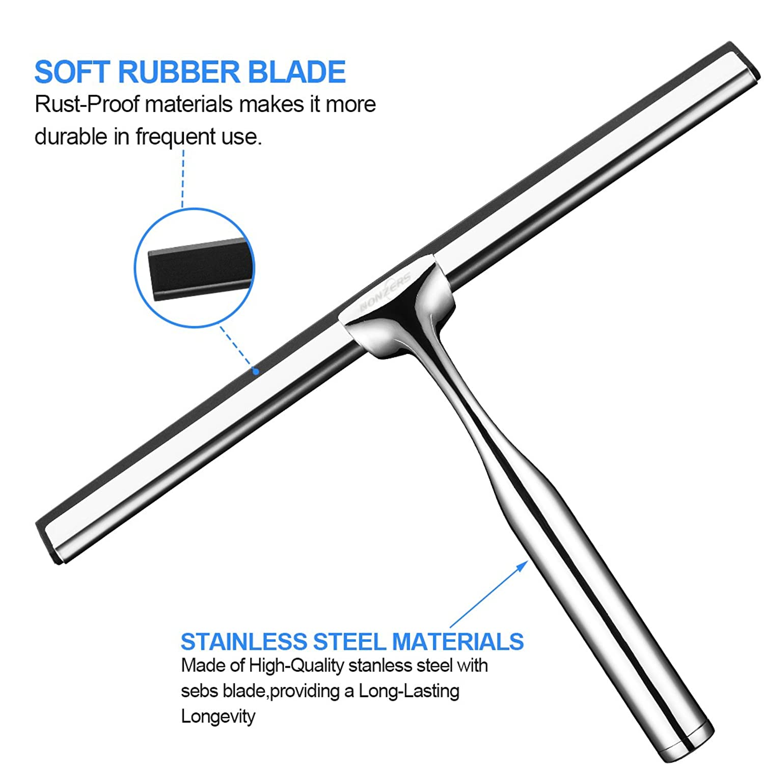 Shower Squeegees Wall Mount Stainless Steel Glass Window Wiper Car Window  NONZERS