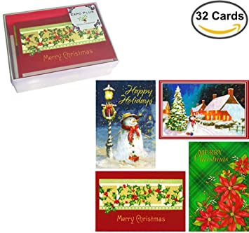 32 traditional boxed christmas cards assortment of nostalgia themes with envelopes on recycled