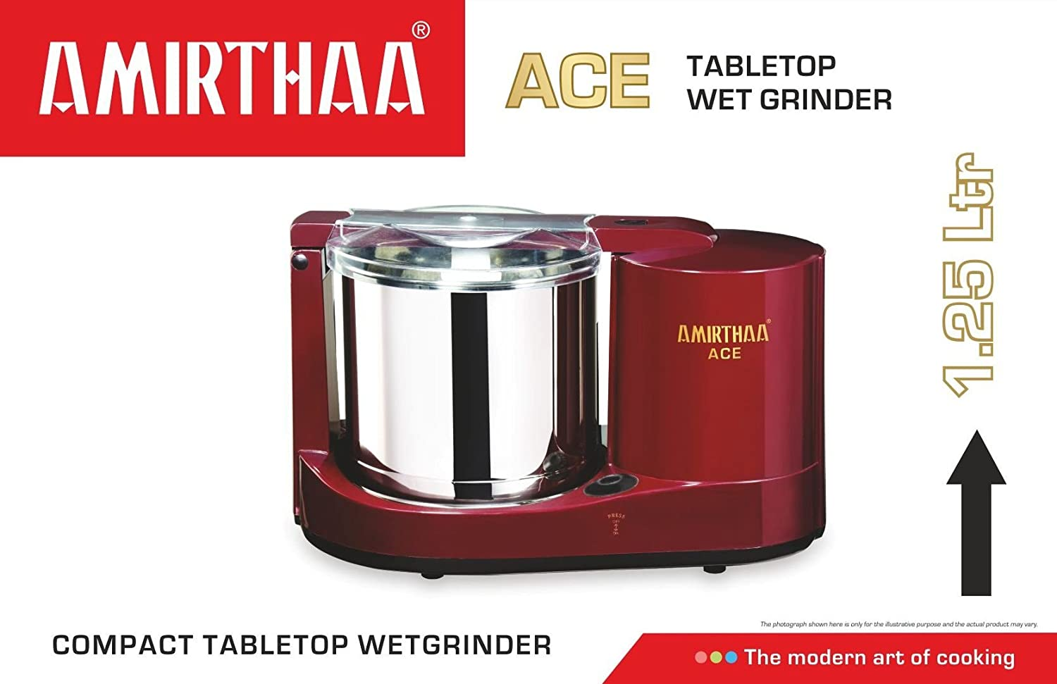 Amirthaa ACE-230V Table Top Wet Grinder, 1 25L(Red, AM_103)