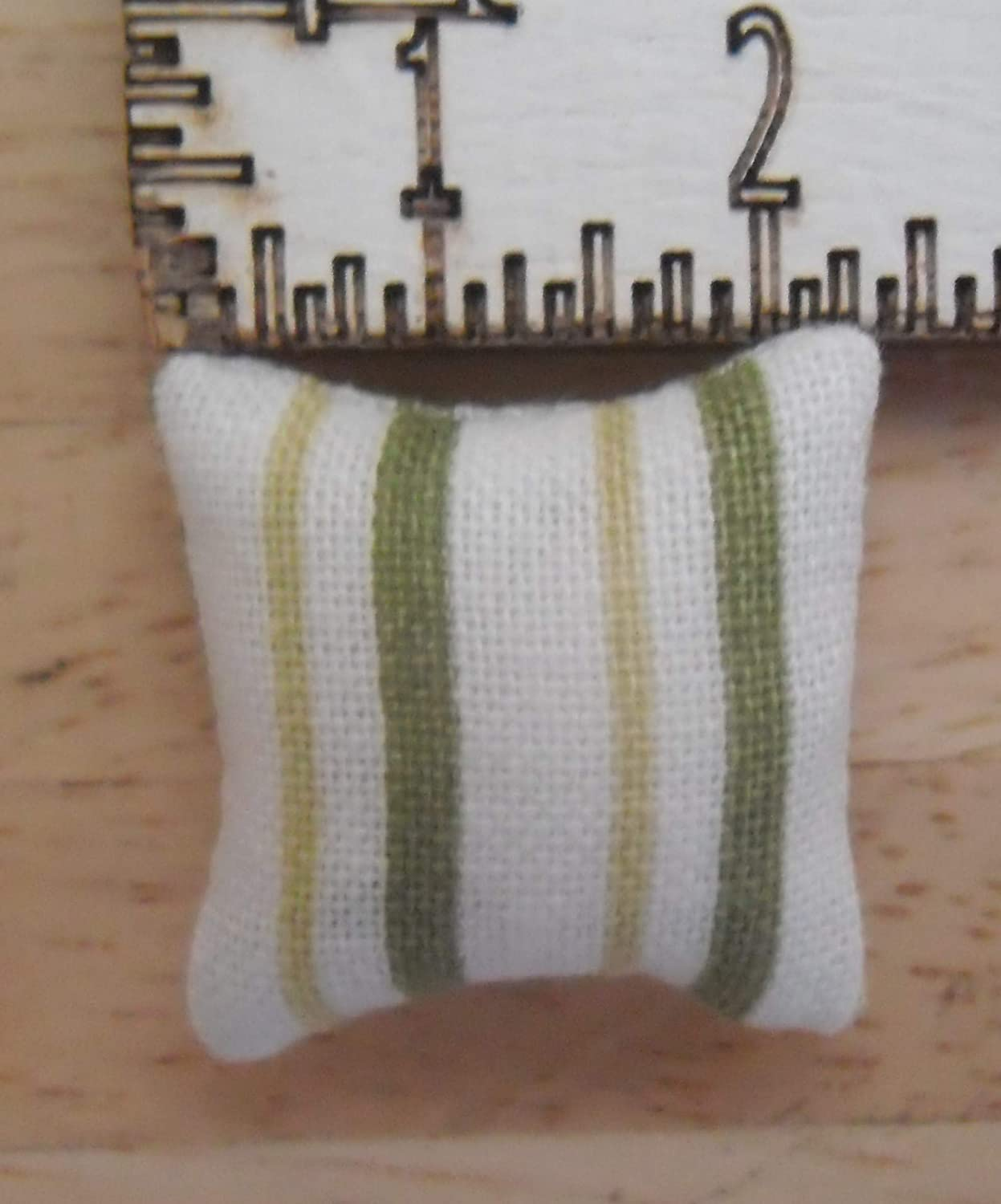1//24th Scale Dolls House Printed Fabric Cushions Stripes Design in Shades of Green /& White