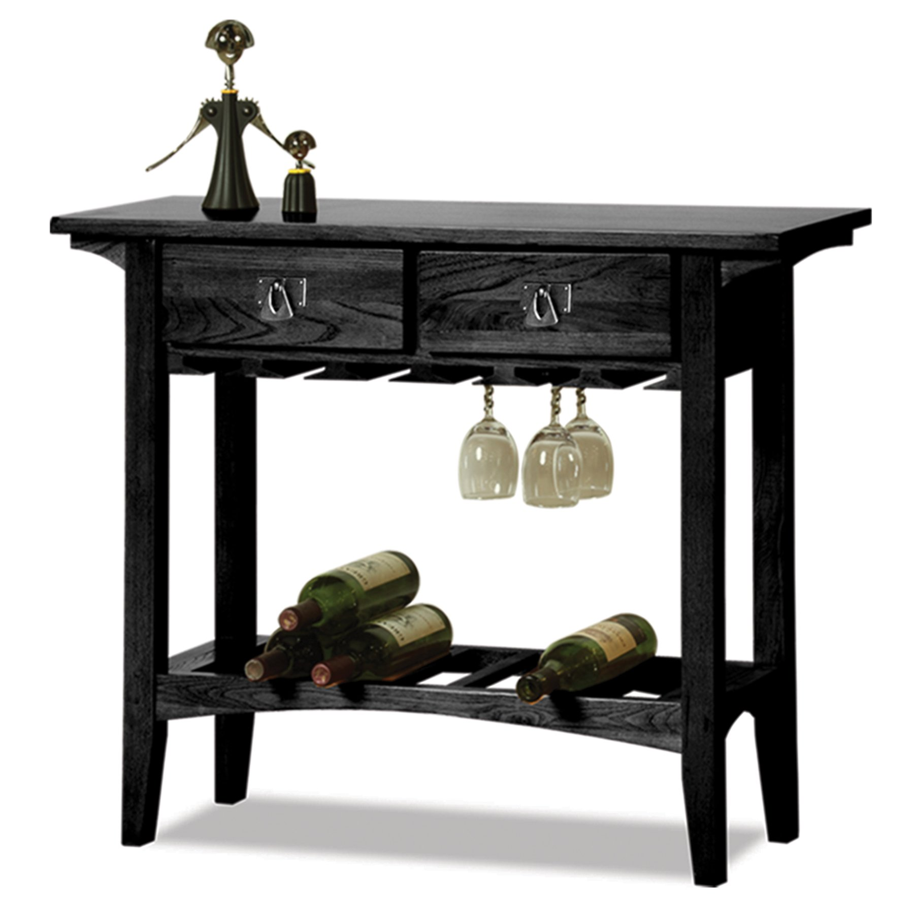 Leick Mission Wine Table with Storage Drawers, Slate Black Finish by Leick Furniture