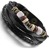 MunkiMix Alliage Genuine Leather Véritable Bois Bracelet Bracelet Menotte Corde Corde Ton d'Argent Noir Surfer Enveloppez Enrouler Réglable Homme