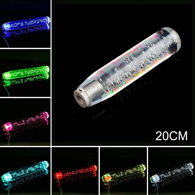 Kecheer Crystal Transparent Bubble Gear Shifter Multicolor Gradient Shift Knob Universal Shift Knob Stick 20cm LED Light RGB Shift Knob Stick