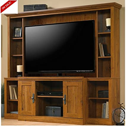 Amazon.com: Library TV Stand Wood Living Room TV Entertainment Home ...