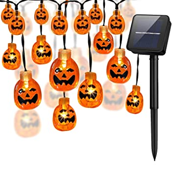 Amazoncom Halloween Pumpkin String Lights30 Led 213 Ft Solar - Use-pumpkins-to-decorate-your-house-for-halloween