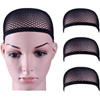 3 Pack Dreamlover Close End Fishnet Wig Caps, Thicker and Strong Nylon Thread, Durable and Breathable, Black