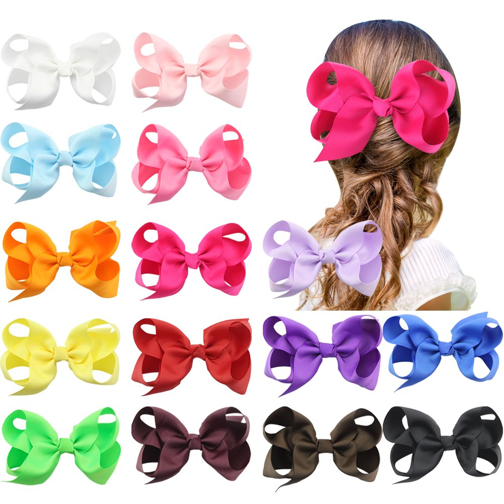 QtGirl 15 Pieces 5.5 Jumbo Solid Color Boutique Style Hair Bow with Clip Fashionfamily NJY100C@#SD
