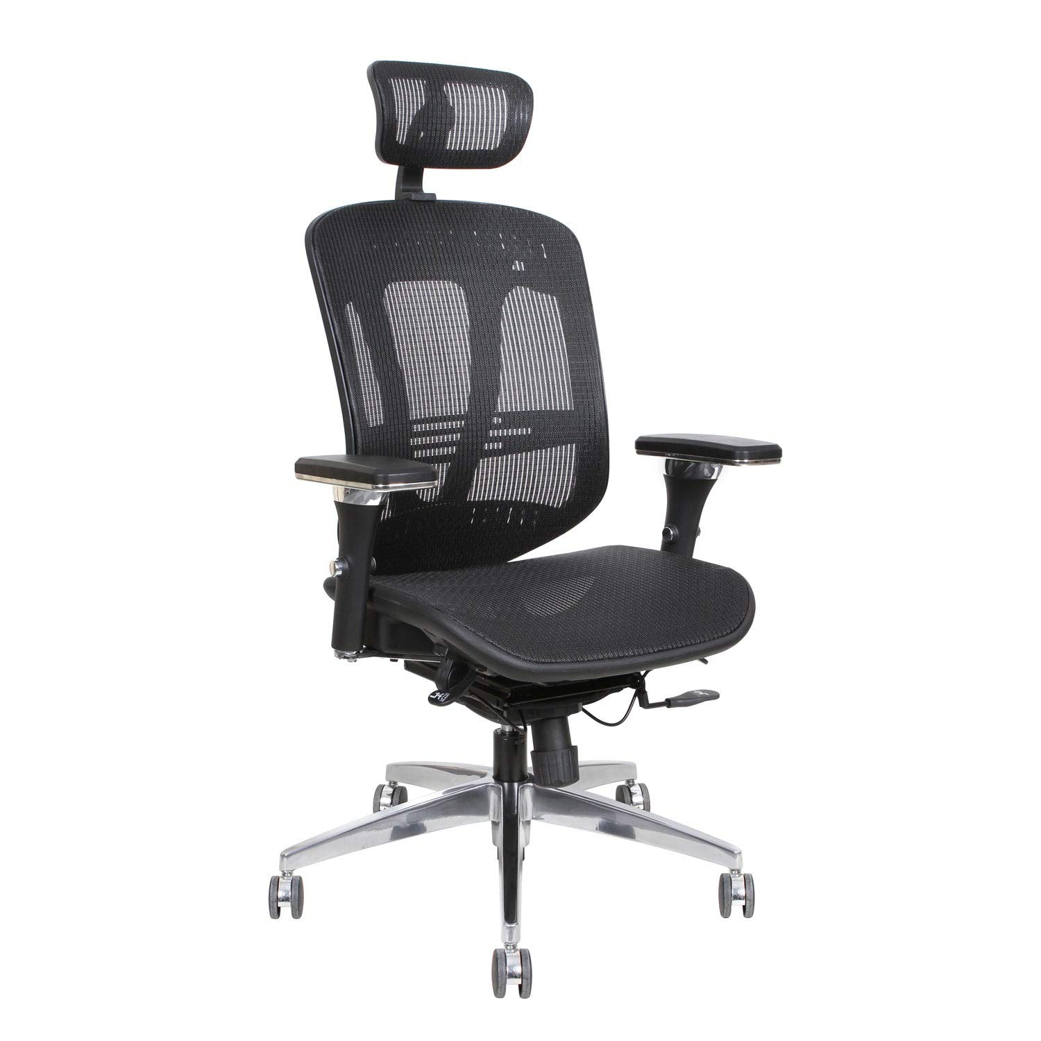 Thornton's Office Supplies ErgoExec Black Mesh Metal/Plastic Rolling Swivel Height-Adjustable Executive Computer Office Desk Chair with Adjustable Arms, Tilt Adjustable and Headrest