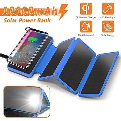 Amazon.com: Cargador solar 10000mAh, 4.5W Qi cargador ...