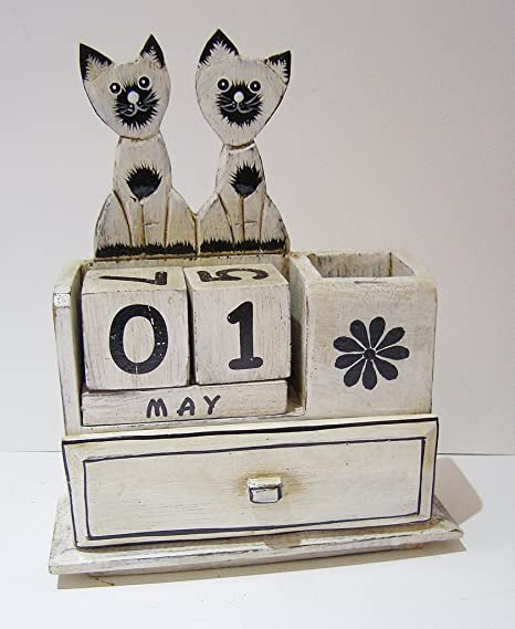 Gatos calendario perpetuo con pines Draw y soporte para bolígrafo, 24 cm de alto