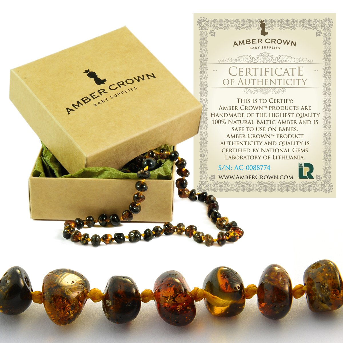 Baltic Amber Teething Necklace for Babies - Anti Inflammatory, Drooling and Teething Pain Reducing Natural Remedy - Polished Greenish Certified Baltic Amber Beads