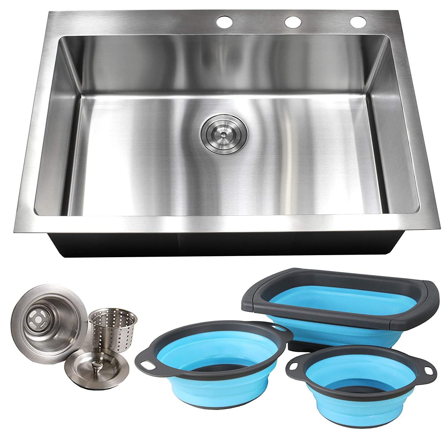 33 Inch Drop In Topmount Stainless Steel Kitchen Sink Package – 16 Gauge Single Bowl Basin w 9 Gauge Deck and 16 Gauge Bowl, 33 x 22 x 10 , with Set of 3 Collapsible BPA-Free Silicone Colander