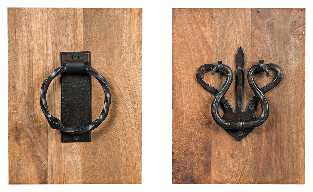 Ashley Furniture Signature Design - Dezso Door Knocker Metal & Wood Wall Panels - Set of 2 - Vintage Casual - Brown/Natural