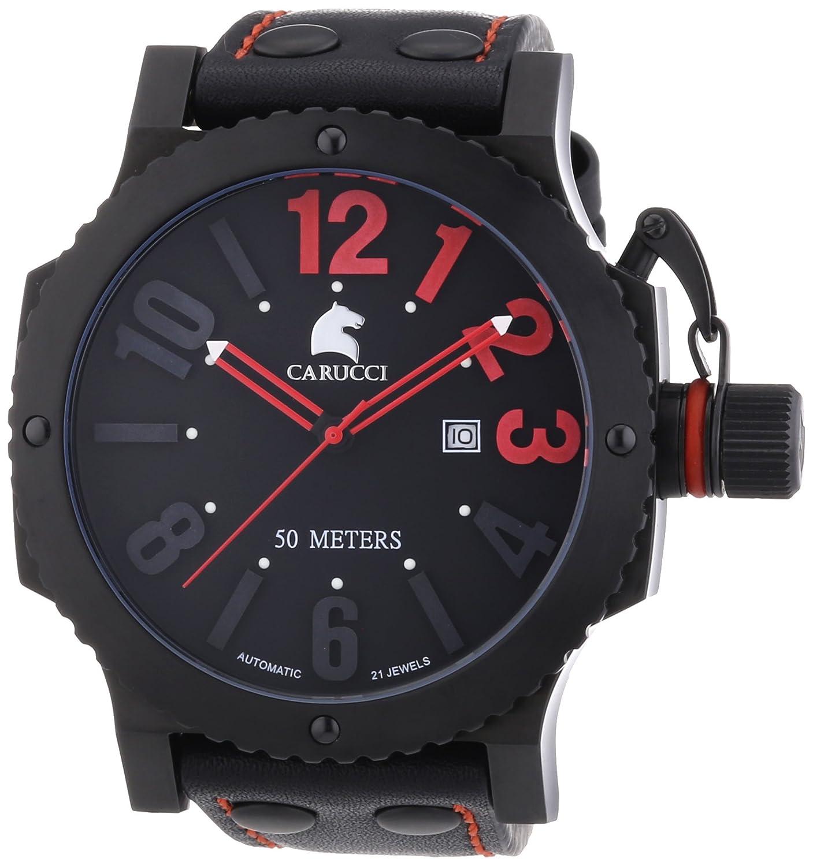 Carucci Watches Herren-Armbanduhr XL Analog Automatik Leder CA2211RD-BK