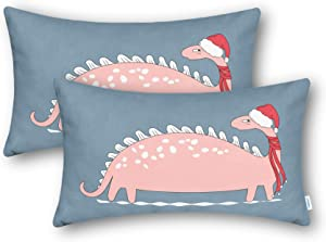 CaliTime Throw Pillow Cases Pack of 2 Cozy Fleece Christmas Hat Scarf Long Pink Dinosaur Printed Cushion Covers for Couch Sofa Bedroom 12 X 20 Inches Smoke Blue