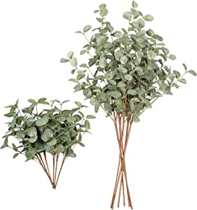 VGIA 12 Pcs Fake Eucalyptus Stems and Artificial Greenery Picks with Eucalyptus Leaves for Wedding Home Decor