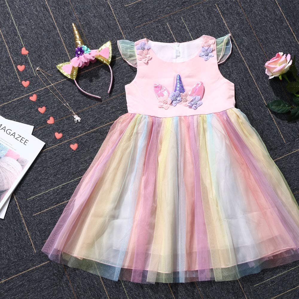 Traje del Vestido Traje de Princesa de la Nieve Vestido Infantil Disfraz de Princesa de Ni/ñas para Frozen Themed Fiesta Cumplea/ños Navidad Halloween Arcoiris 130 cm URAQT Disfraz de Princesa