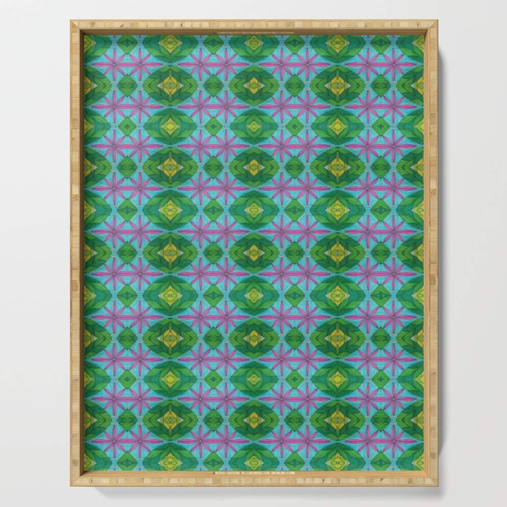 Society6 Serving Tray with handles, 18'' x 14'' x 1 3/4'', Window Panes by aleece