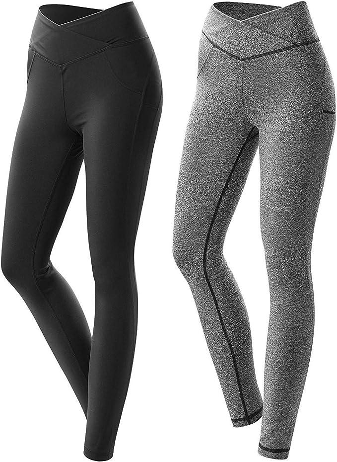 Amazon.com: Meesu - Leggings de yoga de cintura alta, sin ...