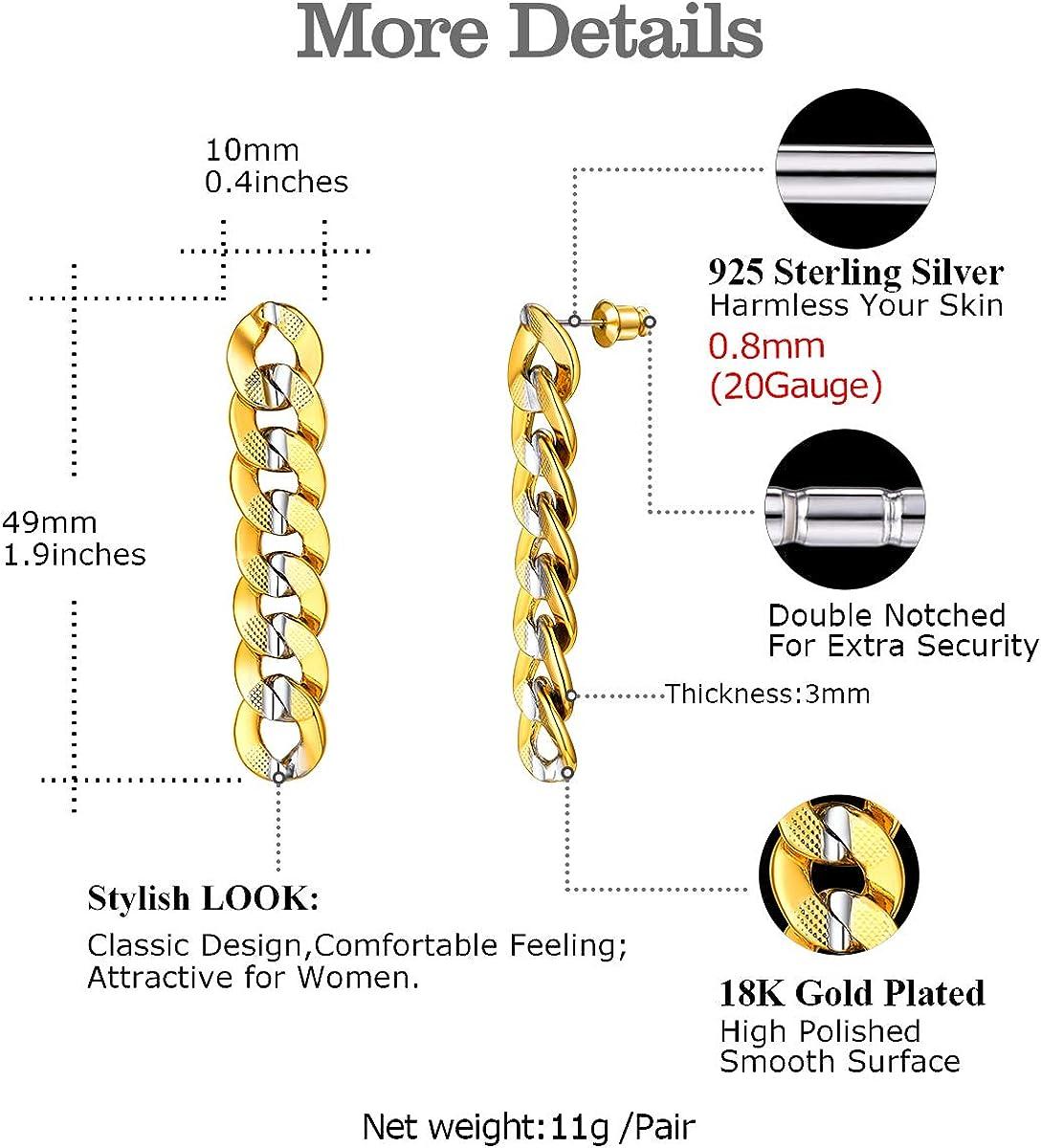 FOCALOOK Boucles dOreilles Femme Plaqu/é Or Cha/îne Pendante Maille//Grain de Caf/é Dor/ée Bijoux Accessoire Moderne pour Fille Cadeau Anniversaire F/êtes No/ël