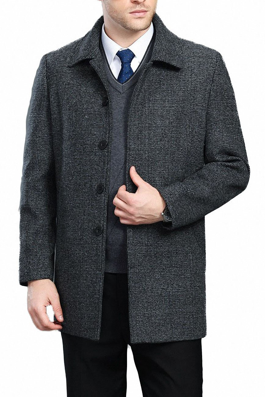 FASHINTY Men's Classical Bussiness Style Single Breasted Plaid Wool Coat #00220 L Gray XL-S