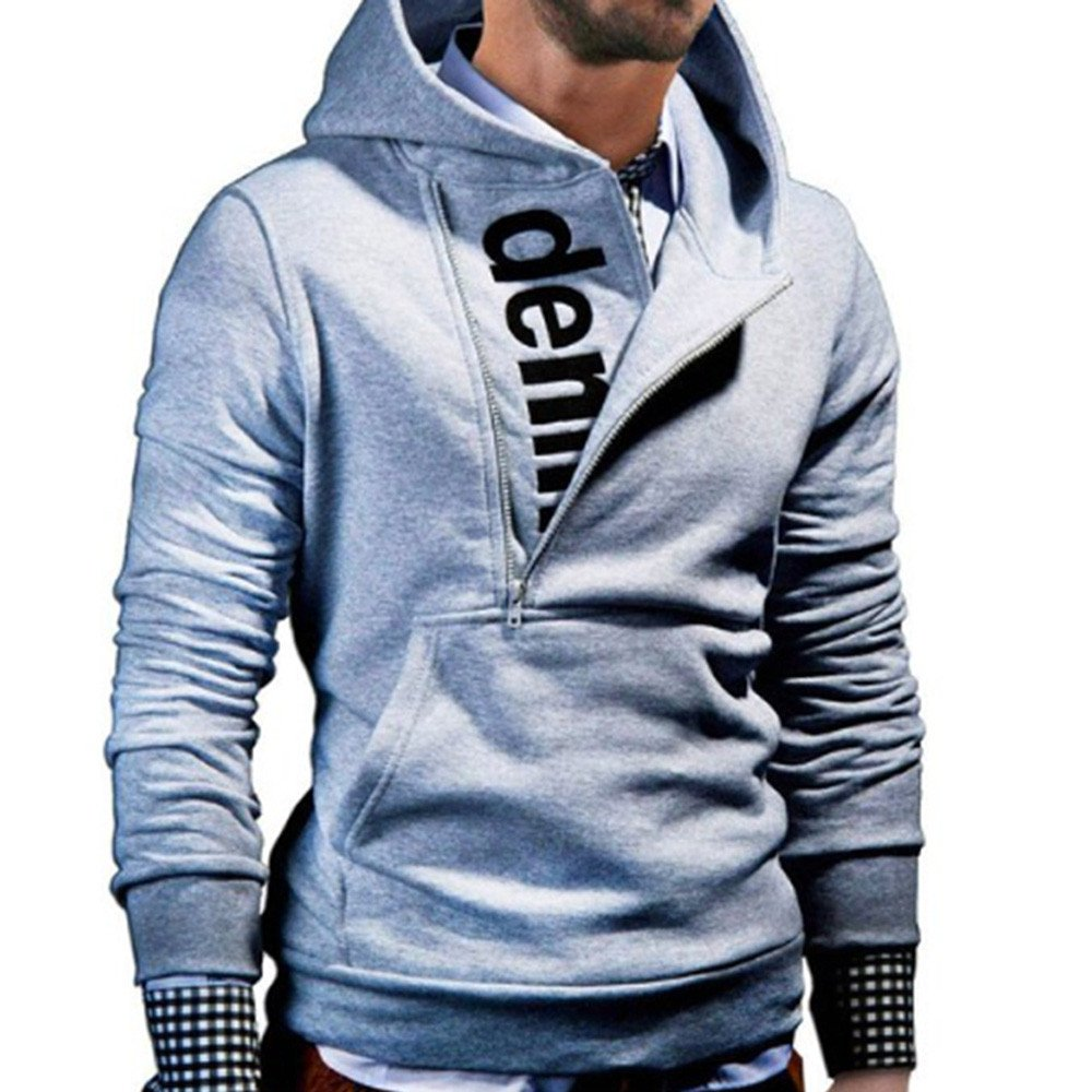 Allywit Men's Long Sleeve Hoodie Hooded Sweatshirt Tops Jacket Coat Outwear