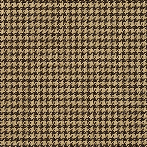 Espresso and Beige Houndstooth Tapestry Upholstery Fabric by the yard
