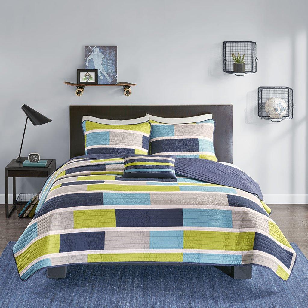 Mi-Zone Bradley Reversible Soft Brushed Microfiber Patchwork 4 Piece Quilt Coverlet Bedspread Bedding Set, Full/Queen, Blue