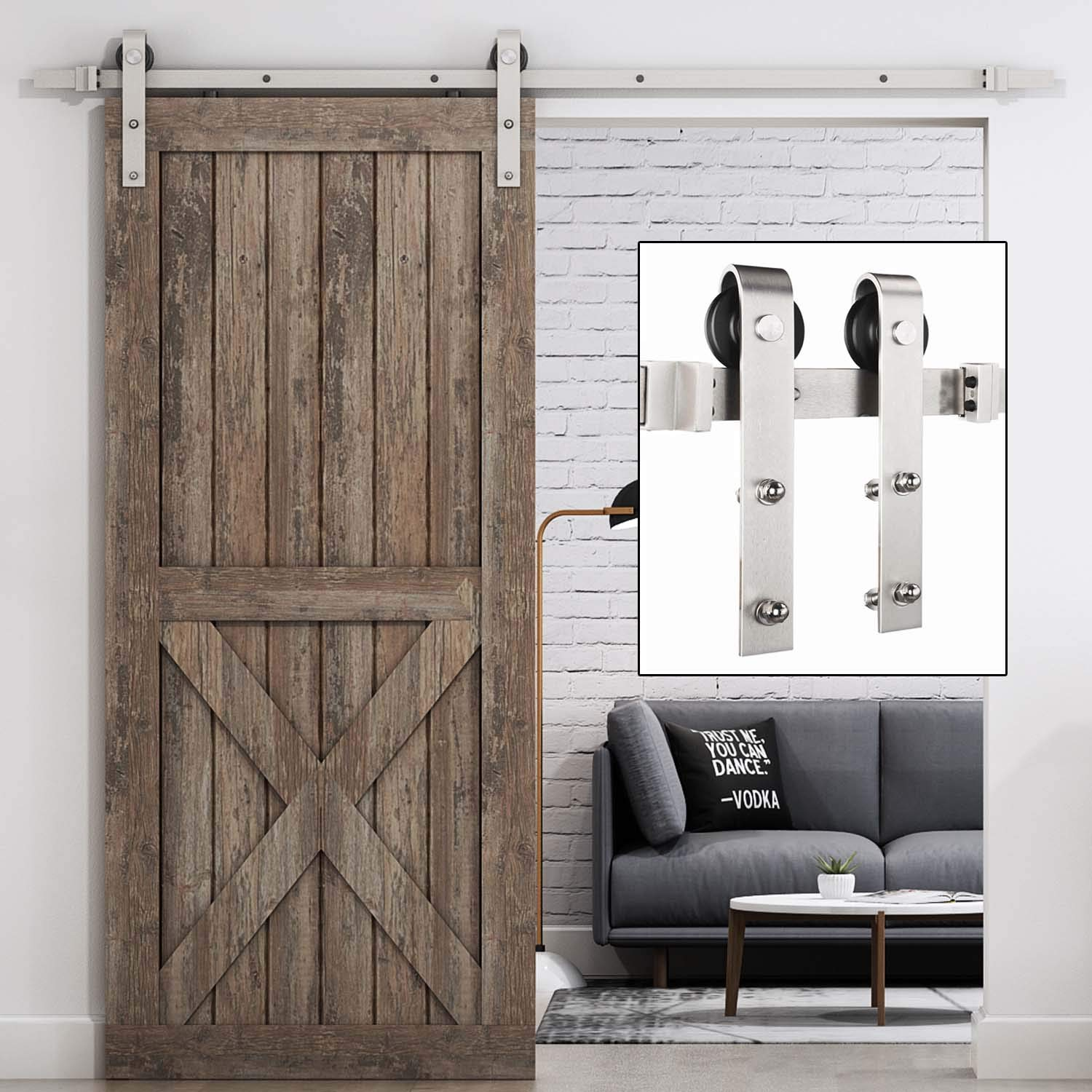EaseLife 6.6 FT Heavy Duty Brush Nickle Sliding Barn Door Hardware Track Kit - Modern | Sturdy | Slide Smooth Quiet | Easy Install | Fit up to 40'' Wide Door | 6.6FT Track Single Door Kit