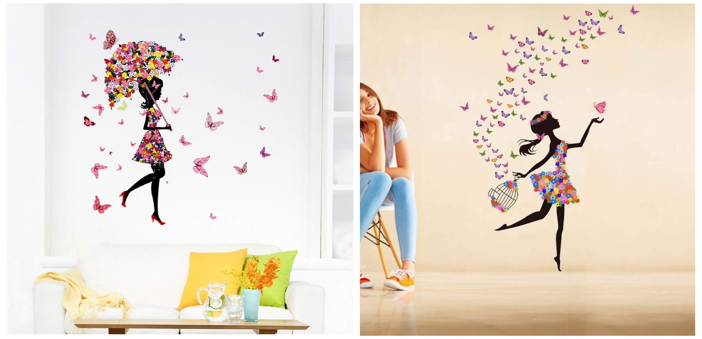 Decals Design 'Dreamy Girl with Flying Colourful Butterflies' Wall Sticker (PVC Vinyl, 60 cm x 90 cm & 'Floral Umbrella Girl and Butterflies' Wall Sticker (PVC Vinyl, 50 cm x 70 cm x 1 cm, Combo (B07W6C56GF) Amazon Price History, Amazon Price Tracker