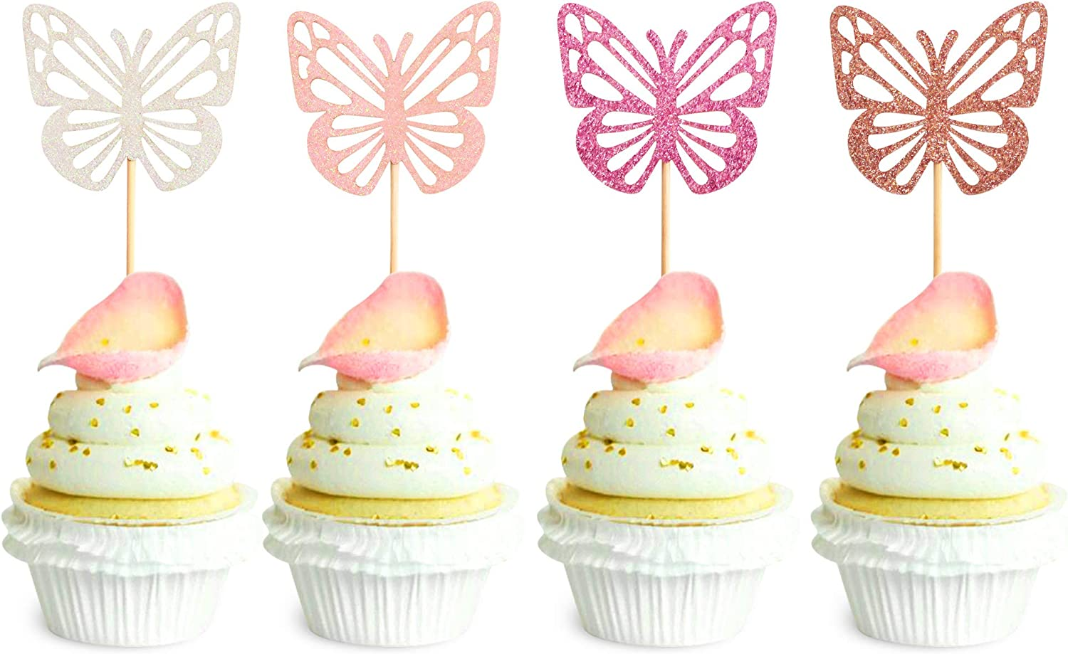 Ercadio 48 Pack Assembled Butterfly Cupcake Toppers Colorful Glitter Butterfly Cupcake Picks Baby Shower Kids Birthday Party Cake Decorations Supplies