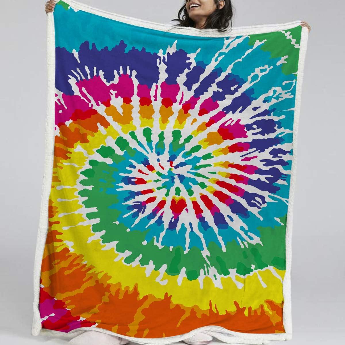 Fleece Blanket Rainbow Tie-Dye Print No-Sew Throw Blanket Pink Orange Yellow Purple Blue