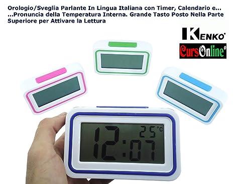CursOnline - Elegante y pequeño reloj digital de mesa, con altavoz en lengua italiana,