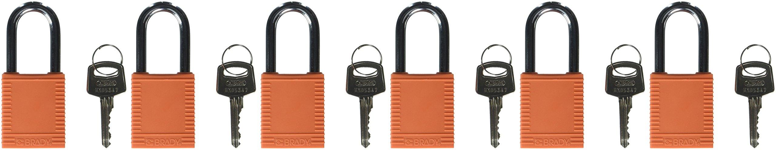 Brady 123270 Lockout Padlock, Keyed Alike, 1/4'', Orange (Pack of 6)