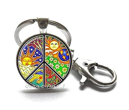 Llavero de moda con símbolo de la paz, llavero de paz ...