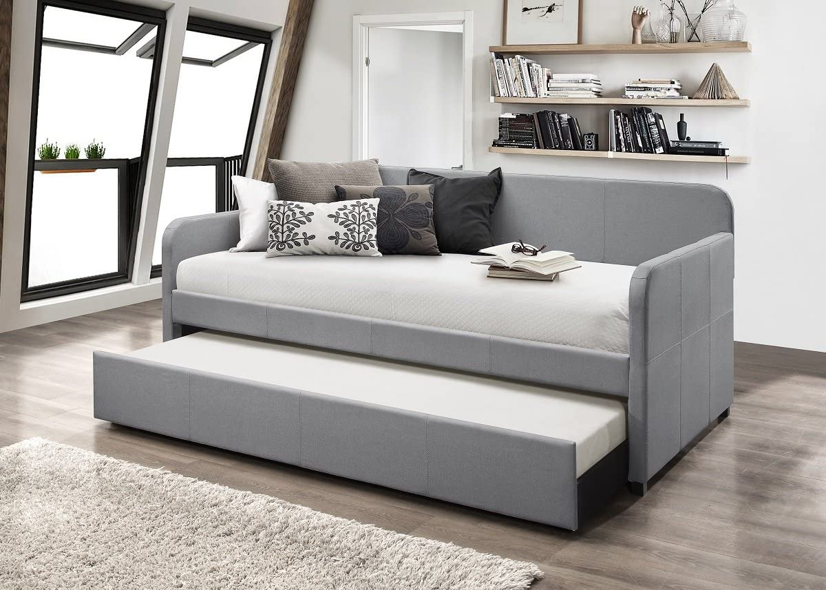 Home Design Tiara Upholstered Daybed with Trundle Light Grey