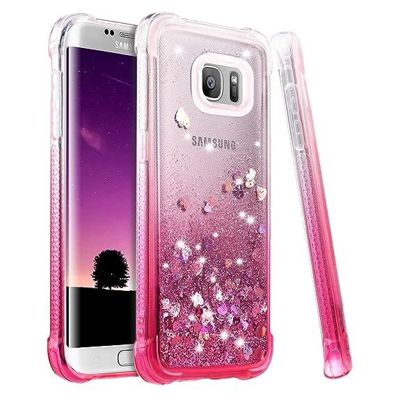 reputable site aca30 a512d Ruky Galaxy S7 Edge Case, S7 Edge Glitter Case, [Gradient Quicksand Series]  Bling Flowing Liquid Floating Soft TPU Bumper Cushion Girls Women Cute ...