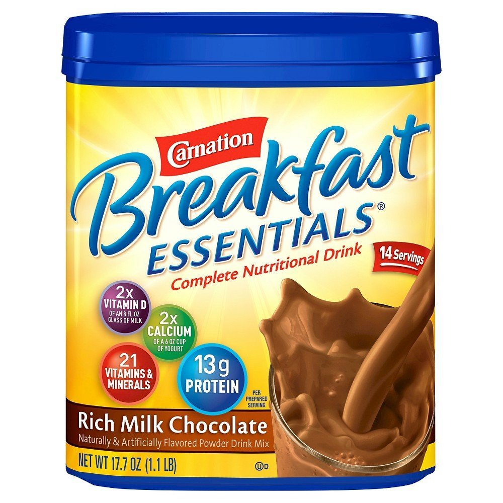 Carnation Breakfast Essentials Chocolate Powder, 17.7-Ounce Canisters (Pack of 3) by Carnation Breakfast Essentials