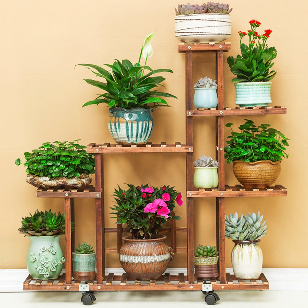 Solid wood flower anticorrosive ground indoor plant rack balcony living room fleshy flowerpot shelves-C by Flower racks