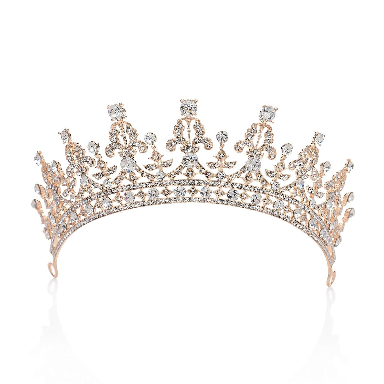 SWEETV Magnifique Cristal Couronne Diadème Accessoire de Costume Bijoux à cheveux pour Mariage Soirée Fête Or+Rubis SVDHG160021B
