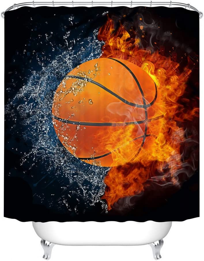 Fangkun Shower Curtain Decor Set - Basketball Ball on Fire and Water Flame Splashing Desgin Bath Curtains - Polyester Fabric Waterproof Curtains - 12pcs Shower Hooks - 72 x 72 inches