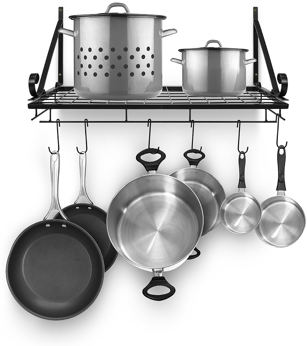 Sorbus Pots and Pan Rack - Decorative Wall Mounted Storage Hanging Rack - Multipurpose Wrought-Iron shelf Organizer for Kitchen Cookware, Utensils, Pans, Books, Bathroom (Wall Rack - Black) by Sorbus