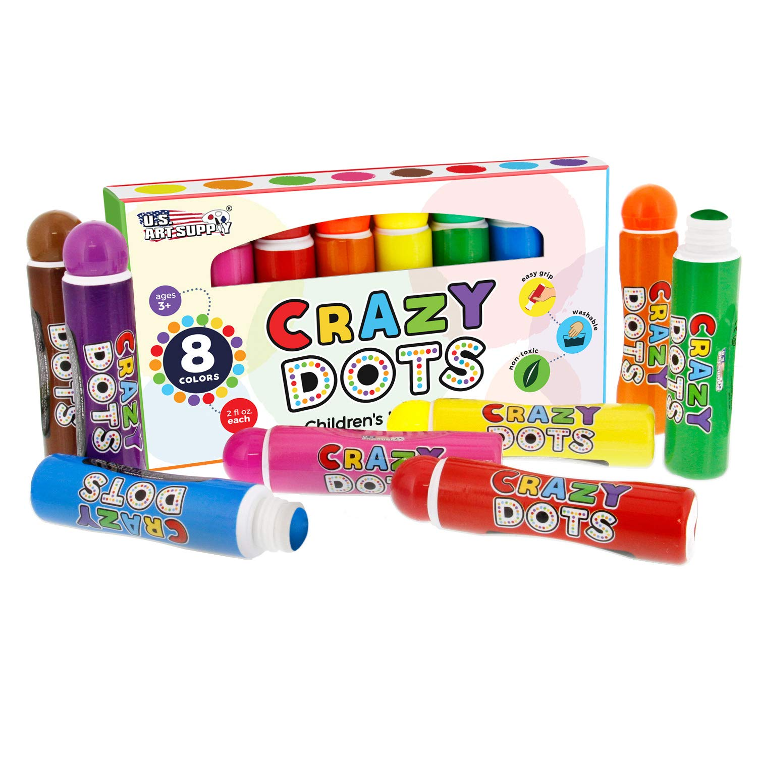 U.S. Art Supply 8 Color Crazy Dots Markers - Children's Washable Easy Grip Non-Toxic Paint Marker Daubers by US Art Supply